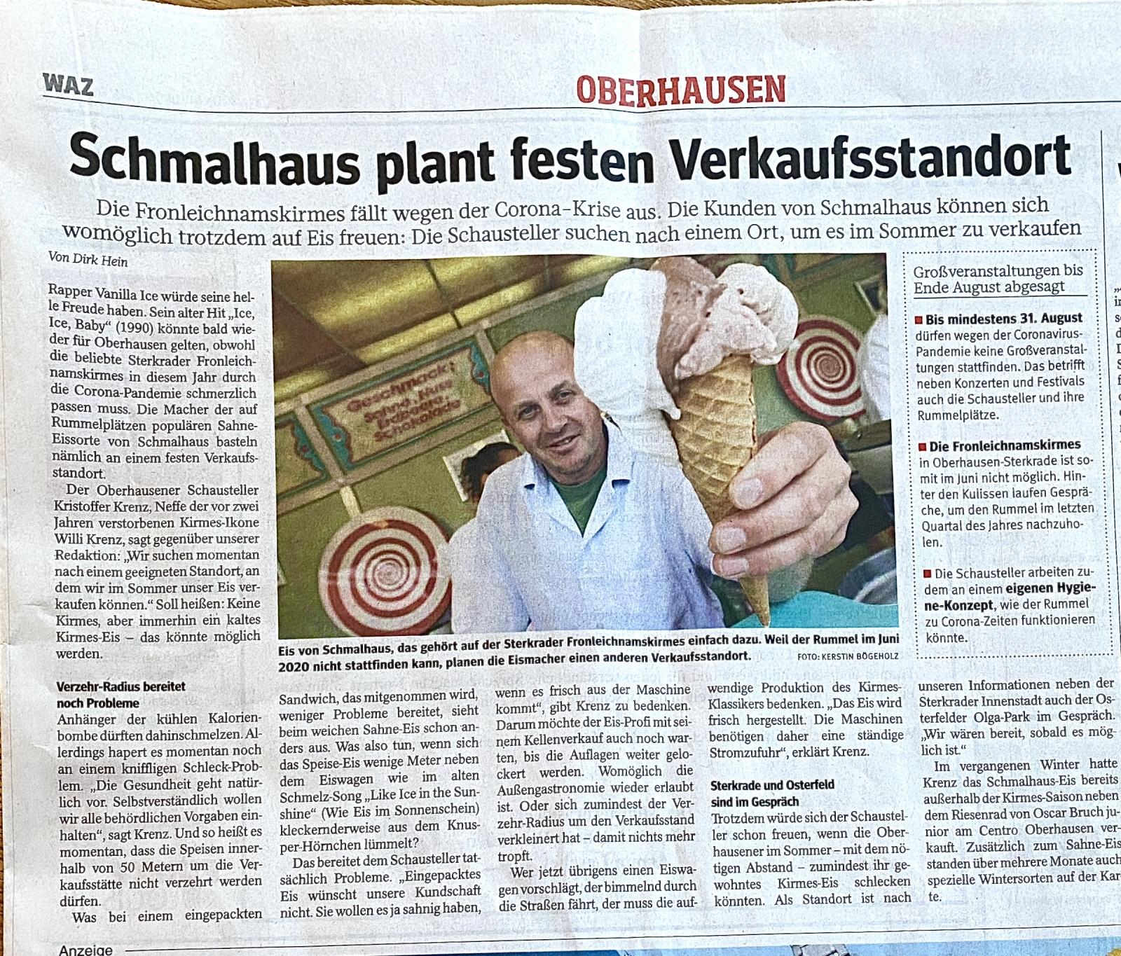 Schmalhaus-Eis sucht festen Standort in Oberhausen